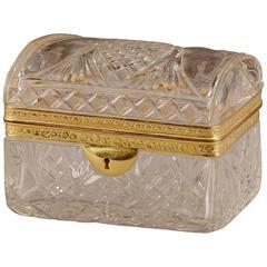 19th Century Cut-Crystal Jewelry Box