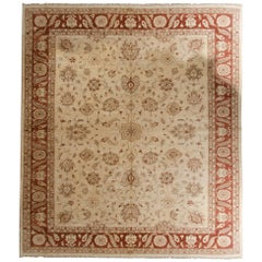 Floral Rug in the style of Ziegler Mahal Carpet, Handwoven Cream Rug