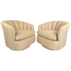 Pair of Contemporary Modern Scalloped Swivel Lounge Chairs