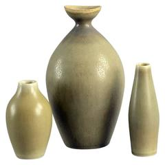 Group of Vases with Pale Olive Haresfur Glaze by Palshus, Denmark, 1950s-1960s