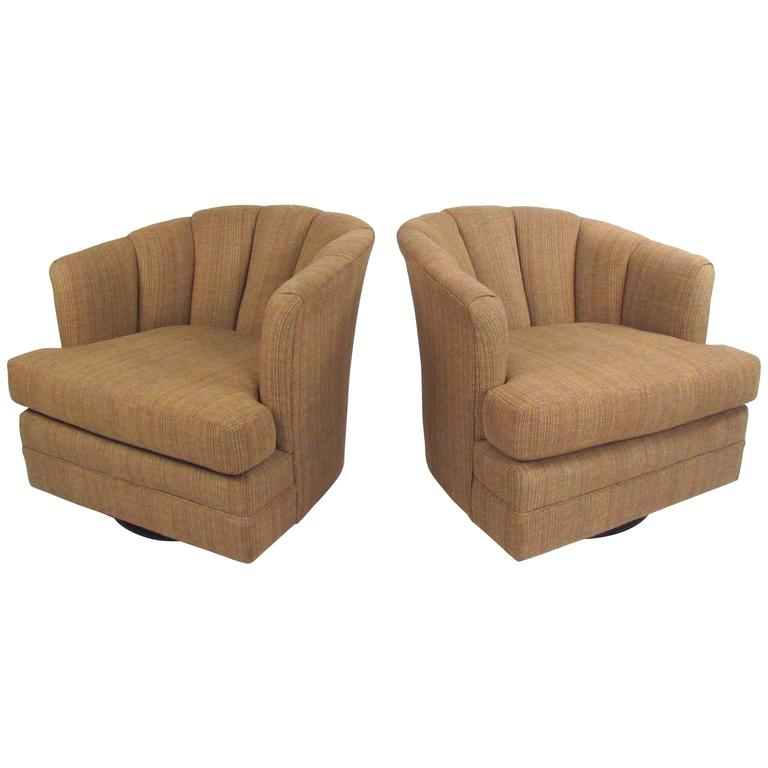 Pair of Contemporary Barrel Back Swivel Chairs