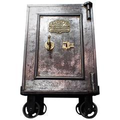 Fire-Proof Safe with Original Key Set on Bespoke Steel Trolley, 1800s