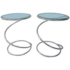 Pair of Polished Chrome and Glass Pace Tables by Leon Rosen