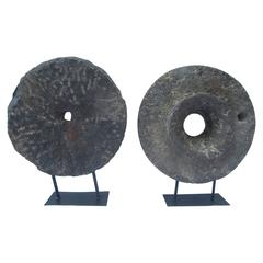 Two Millstones on Iron Bases