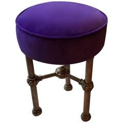 Late 19th or Early 20th Century English Stool, Purple