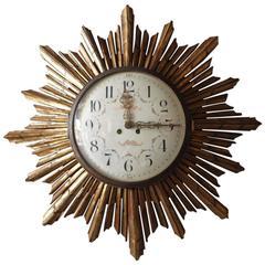 Exceptional and Rare Sunburst Clock