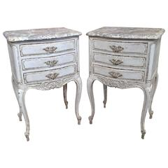 Pair of 19th Century French Grey Painted Bedside Tables with Faux Marble Top