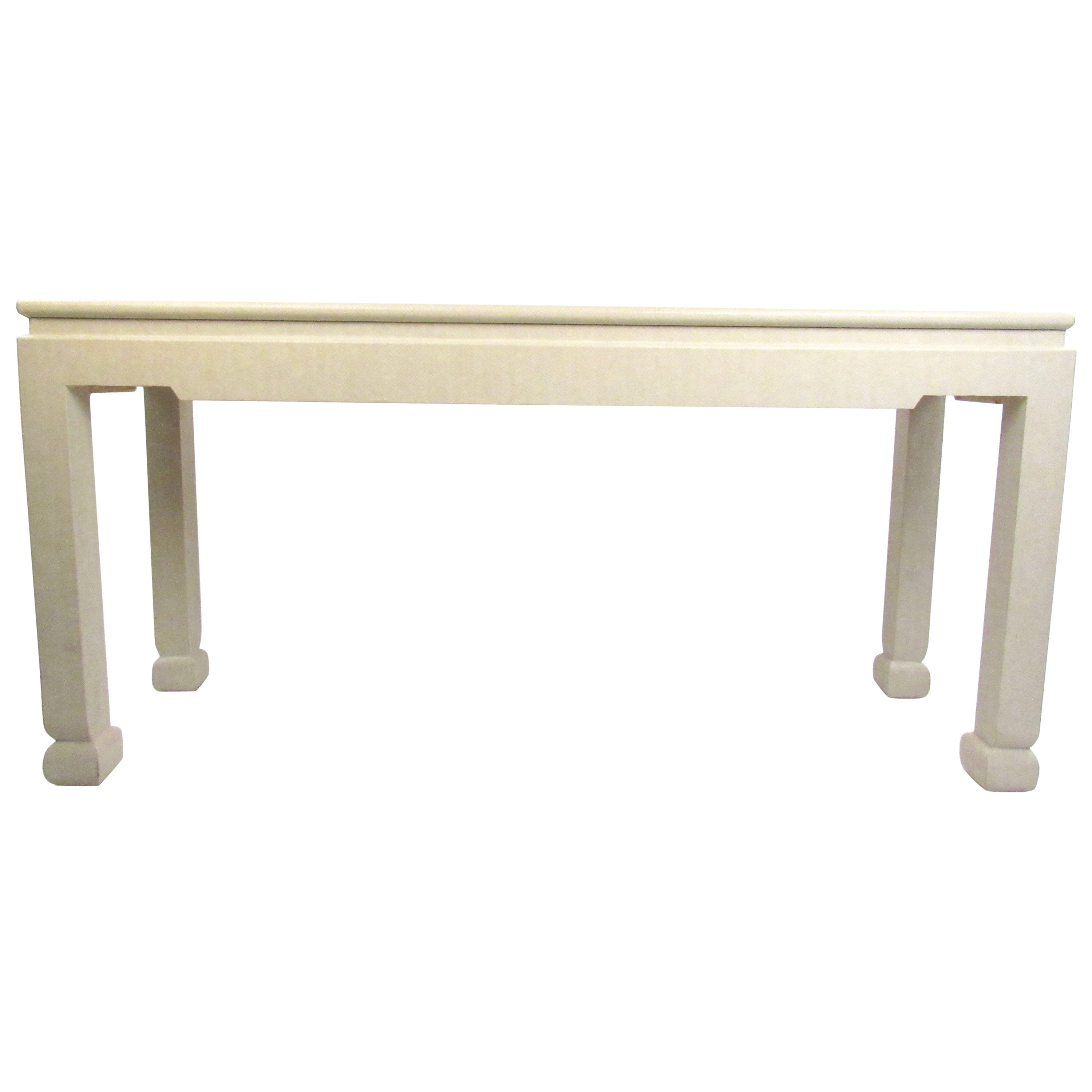 Mid-Century Faux Snakeskin Console Table in the Style of Karl Springer