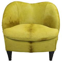 Chic Modern Club Chair in Chartreuse Hair-on-Hide