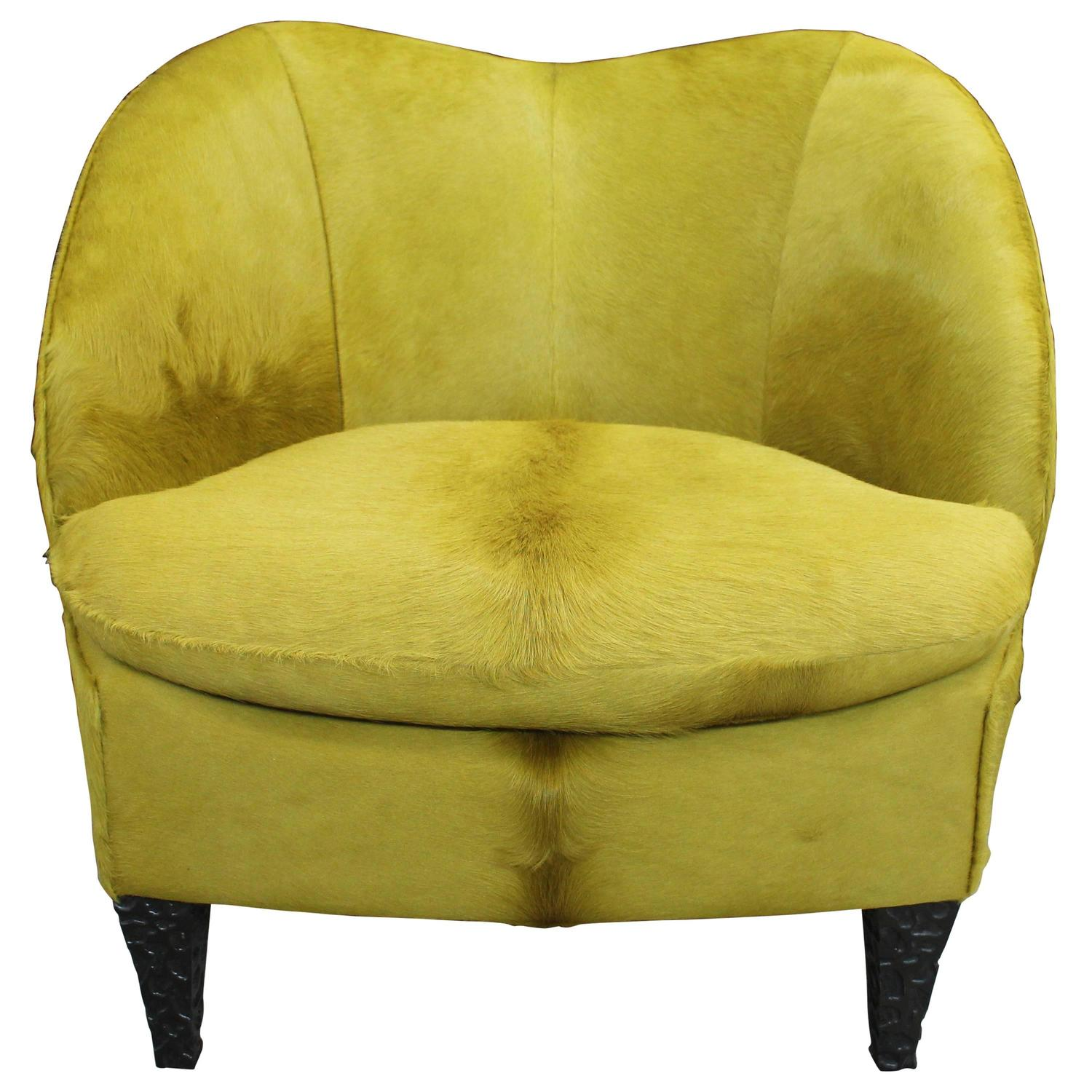 Chic Modern Club Chair in Chartreuse Hair on Hide For Sale at 1stdibs