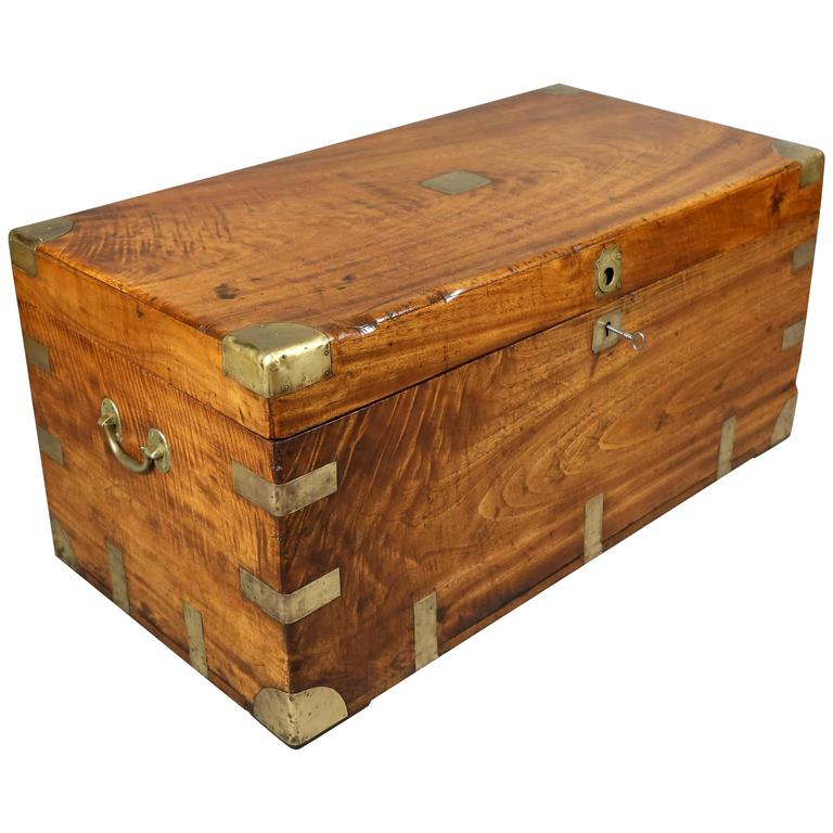 Chinese export camphor wood and brass bound chest for sale
