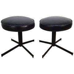 Pair of Italian Modern Swivel Stools with Leather Seats