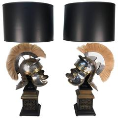 Pair of Roman Style Helmets, Now as Lamp