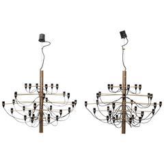 Pair of Sarfatti 2097 30 Bulb Brass Chandeliers for Arteluce