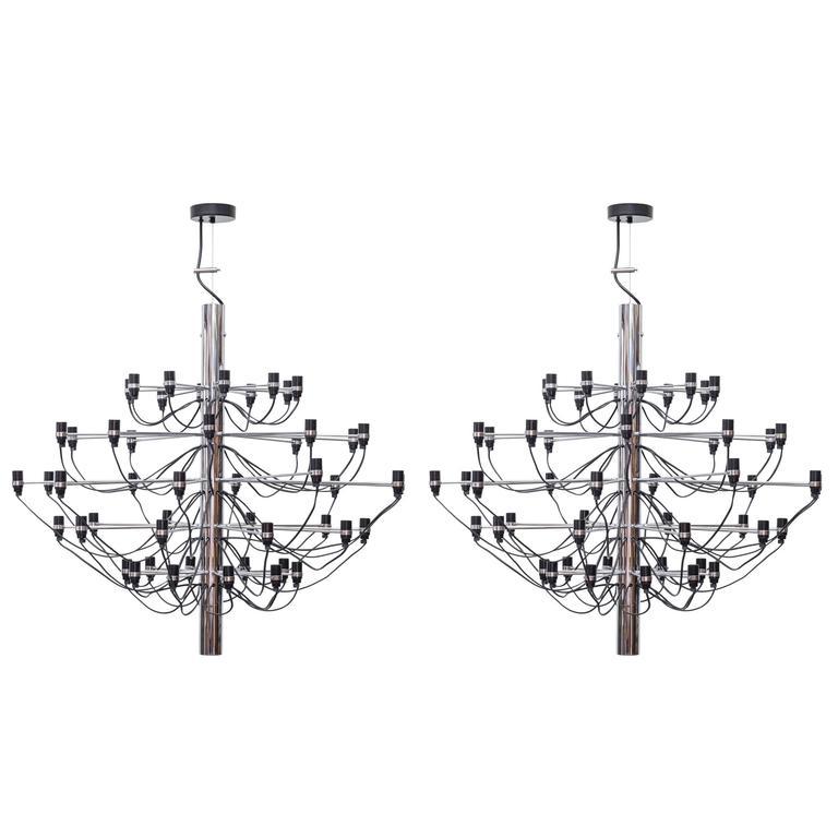 Pair of 2097 Sarfatti Chrome Chandeliers
