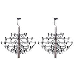 Pair of 2097 Sarfatti Chrome Chandeliers