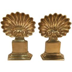 Pair of Masion Charles Shell Motif Chenets