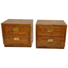 Pair of Henredon Campaign Style Nightstands