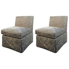 Pair of Silk Upholstered Armless Club Chairs