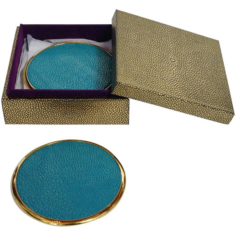 Set of Four-Piece Coasters with Turquoise Shagreen by Fabio Bergomi