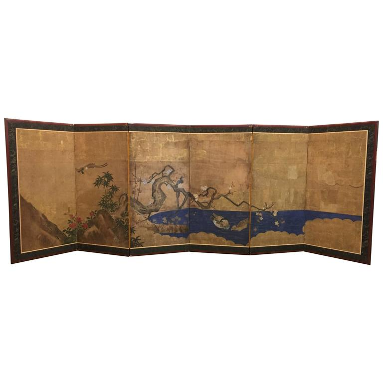 Japanese Screen with Ducks in a Stream