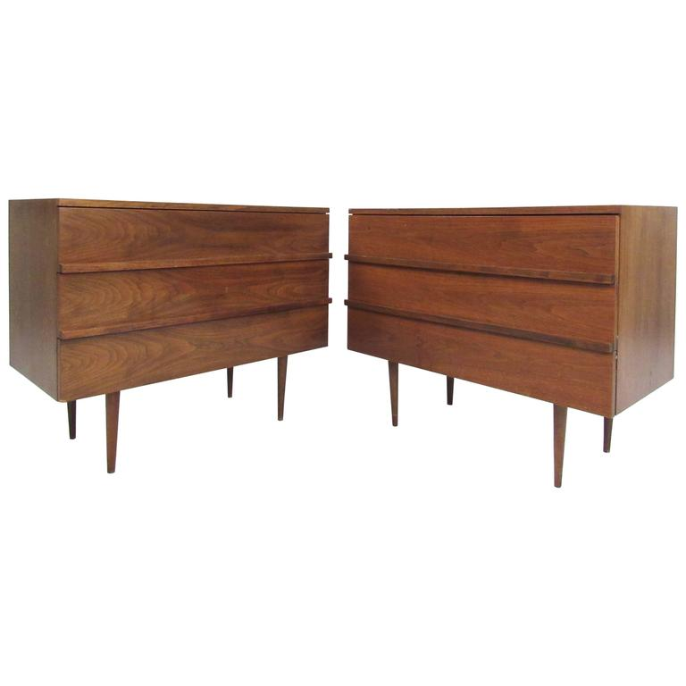 Pair of Mid-Century Modern Three-Drawer Walnut Dressers