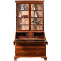 George III Mahogany and Satinwood Inlaid Bureau Bookcase, circa 1780