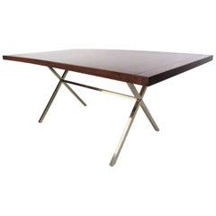 Mid-Century Modern Milo Baughman Style X-Base Dining Table
