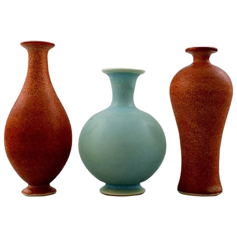 Three Unique Miniature Ceramic Vases By Per Liljegren