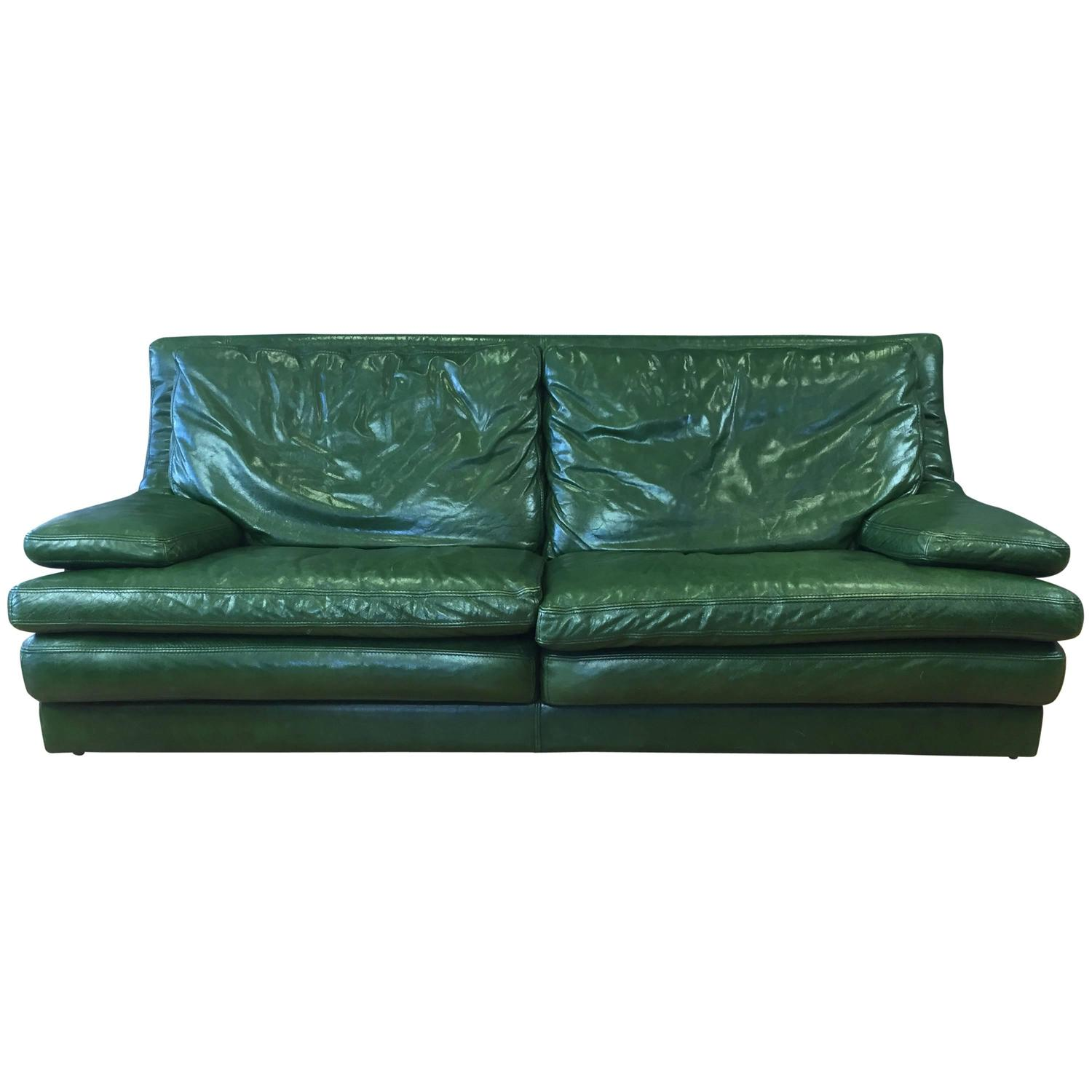 Vintage Roche Bobois Green Leather Sofa For Sale At 1stdibs