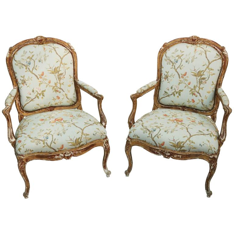 Th Century French Painted Fauteuil Chairs For Sale