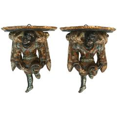 Pair of Large 19th Century Blackamoor Brackets