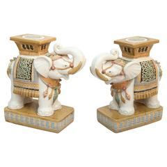 "Whimsical Pair of ""Elephant"" Garden Seats"