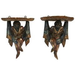 Pair of 19th Century Blackamoor Brackets