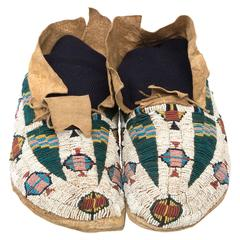 Antique Native American Pictorial Beaded Moccasins, Cheyenne, 19th Century