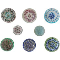 Collection of Eight Italian Murano Glass Millefiori Paperweights