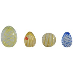 Collection of Four Italian Murano Glass Paperweights with Gold and Stripes