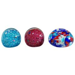 Set of Three Italian Murano Glass Paperweights
