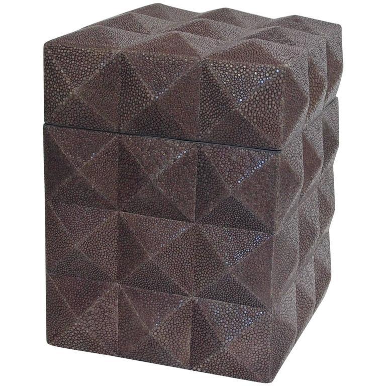 Pyramid gray shagreen box by Fabio Ltd