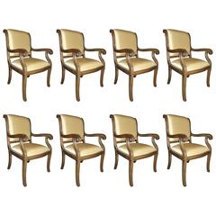Set of Eight Sable Leg Sleigh Back Dining Chairs