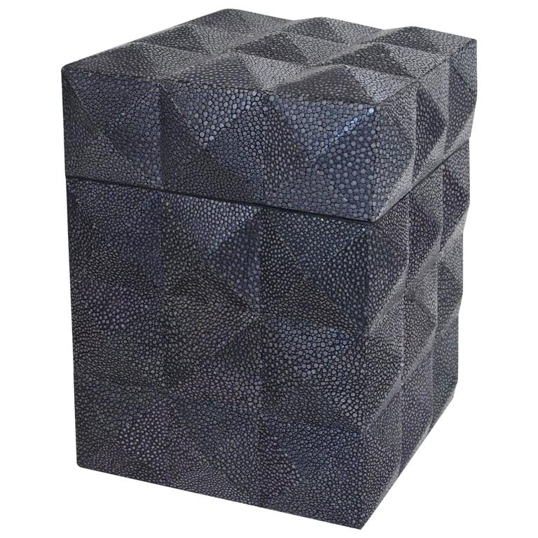 Pyramid Black Shagreen Box by Fabio Ltd For Sale