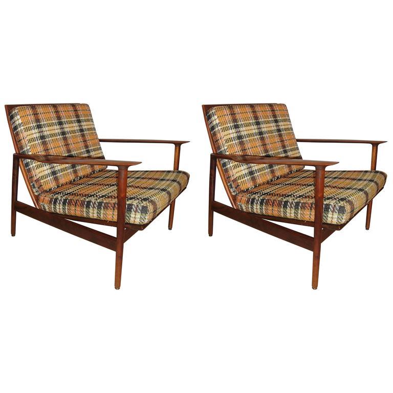 Pair Of Ib Kofod Larsen Stamped Lounge Chairs Fine Scandinavian Design For  Sale