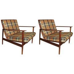 Pair of Ib Kofod-Larsen Stamped Lounge Chairs Fine Scandinavian Design