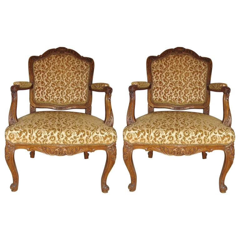 Pair of Rococo Craved Louis XV Style Armchairs
