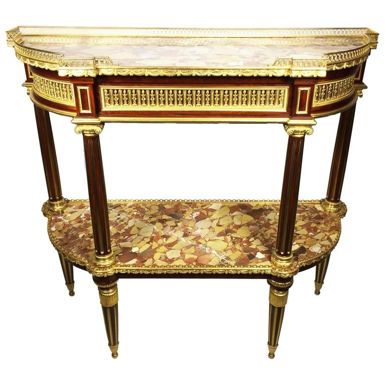 19th Century Louis XVI Style Gilt Bronze-Mounted Two-Tier Demilune Console