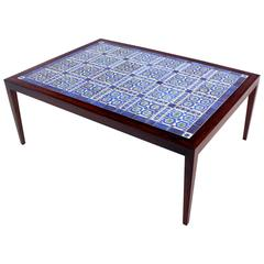 Large Danish Modern Rosewood Coffee Table with Inlaid Tiles by Severin Hansen Jr
