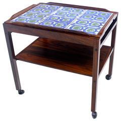Danish Modern Rosewood Tea Cart with Royal Copenhagen Tiles by Severin Hansen Jr