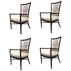 Set of Four Barbara Barry Bamboo Dining Chairs by McGuire
