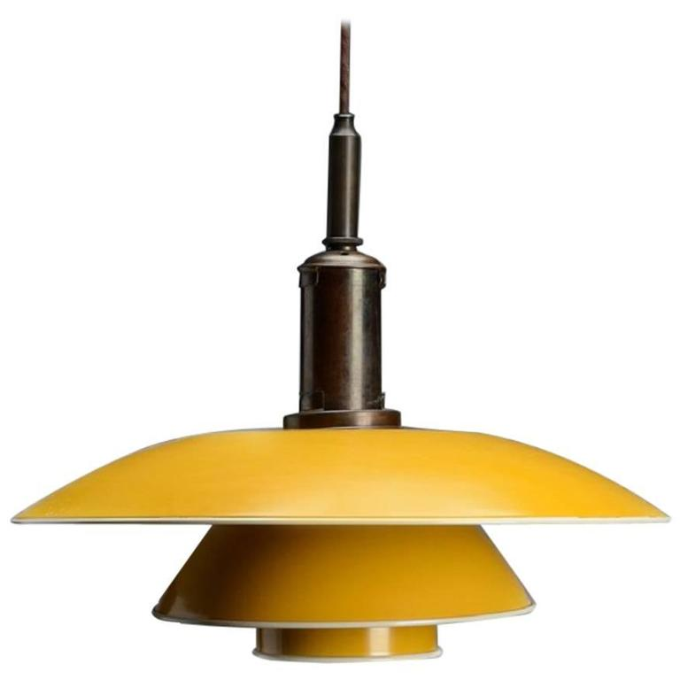 Poul Henningsen. PH 4½-4 Pendant Lamp With Shade Yellow