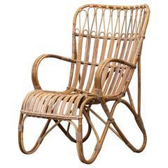 Franco Albini Inspired High Back Lounge Chair